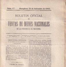 Libros antiguos: DESAMORTIZACIÓN. VENTA DE BIENES PROVINCIA DE NAVARRA. 1883. TAFALLA Y AOÍZ. Nº 17. Lote 289360148