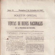 Libros antiguos: DESAMORTIZACIÓN. VENTA DE BIENES PROVINCIA DE NAVARRA. 1887. TAFALLA, TUDELA, AOÍZ, PAMPLONA. Nº 41. Lote 289360343