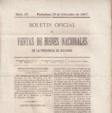 Libros antiguos: DESAMORTIZACIÓN. VENTA DE BIENES PROVINCIA DE NAVARRA. 1887. PARTIDO DE PAMPLONA. Nº 42. Lote 289360618