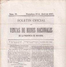 Libros antiguos: DESAMORTIZACIÓN. VENTA DE BIENES PROVINCIA DE NAVARRA. 1887. PARTIDO DE PAMPLONA. Nº 38. Lote 289360998