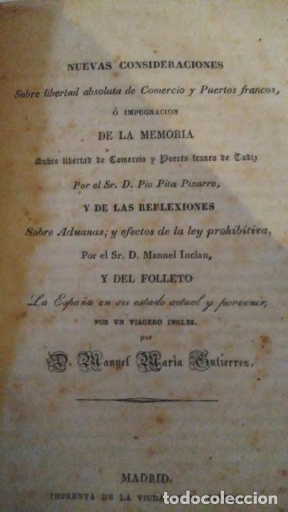 Libros antiguos: CONSIDERACIONES SOBRE LIBERTAD ABSOLUTA DE COMERCIO - AÑO 1839 - .PIO PITA PIZARRO. - Foto 3 - 289883248
