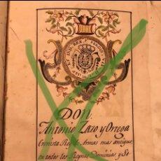 Libros antiguos: CERTIFICACIÓN DE ARMAS DE ANTONIO ZAZO A FAVOR DE ANTONIO Y FRANCISCO ALONSO RUFRANCO DE OSUNA. Lote 291865323