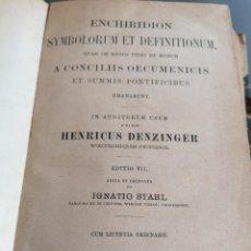 Libros antiguos: AÑO 1895, ENCHIRIDION, HENRICUS DENZINGER. Lote 293366833