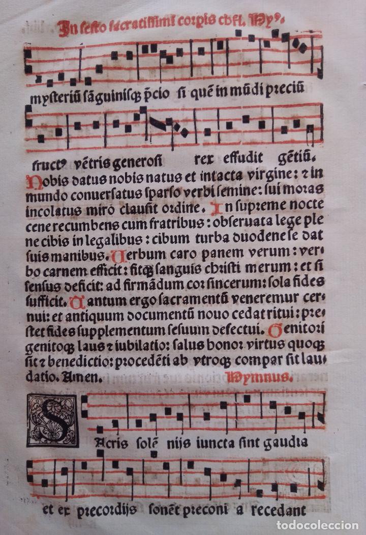 INCUNABLE MUSICAL. NOTACIÓN CUADRADA. LITÚRGICO. IMPRENTA. LETRA GÓTICA. INICIALES XILOGRÁFICAS. (Libros Antiguos, Raros y Curiosos - Historia - Otros)