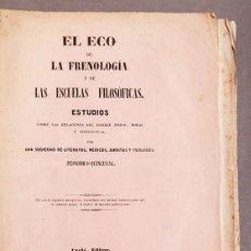 Libros antiguos: EL ECO DE LA FRENOLOGÍA - REVISTA - 1847 - Nº 1 - BARCELONA. Lote 293865578