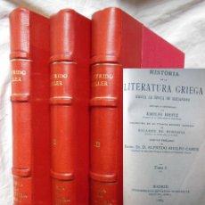 Libros antiguos: HISTORIA DE LA LITERATURA GRIEGA HASTA LA EPOCA DE ALEJANDRO 3 TOMOS. 1889 CARLOS OTFRIDO MULLER. Lote 294375668