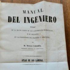Libros antiguos: MANUAL DEL INGENIERO - DE.NICOLAS VALDES J. DUMAINE 1859 ATLAS 103. Lote 295275013