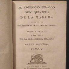 Libros antiguos: EL INGENIOSO HIDALGO DON QUIXOTE DE LA MAMCHA 1787 . PARTE SEGUNDA TOMO V. VIUDA DE IBARRA. Lote 295385923