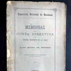 Libros antiguos: EXPOSICIÓN UNIVERSAL DE BARCELONA / MEMORIA DE LA JUNTA DIRECTIVA / AÑO 1887 / FOLLETO. Lote 295595343
