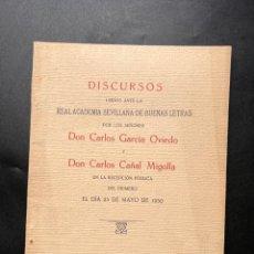 Libros antiguos: DISCURSOS LEIDOS ANTE LA REAL ACADEMIA SEVILLANA DE LAS BUENAS LETRAS POR CARLOS GARCIA. 1930. Lote 295731658