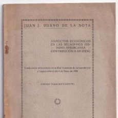 Libros antiguos: JUAN J. RUANO DE LA SOTA: ASPECTOS ECONÓMICOS EN LAS RELACIONES HISPANO-AMERICANAS. 1925. Lote 295812578