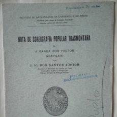 Libros antiguos: SANTOS JÚNIOR. A DANÇA DOS PRETOS (CARVIÇAIS). 1936. Lote 296902243