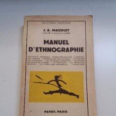 Libros: MANUEL D'ETHNOGRAPHIE. Lote 104144259