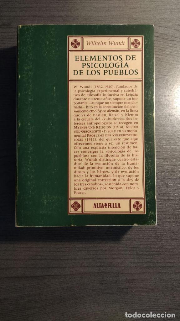 ELEMENTOS DE PSICOLOGIA DE LOS PUEBLOS. WILHELM WUNDT. (Libros Nuevos - Humanidades - Antropología)