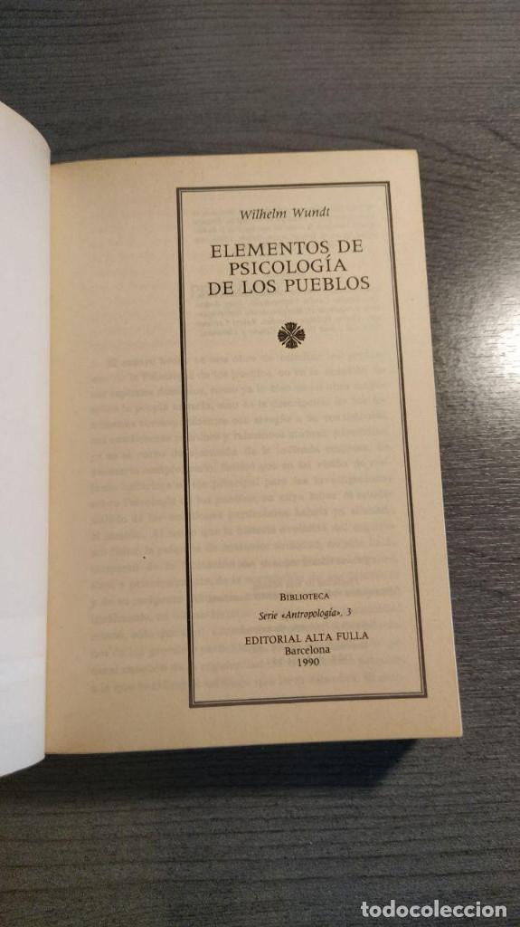 Libros: ELEMENTOS DE PSICOLOGIA DE LOS PUEBLOS. WILHELM WUNDT. - Foto 2 - 177057070