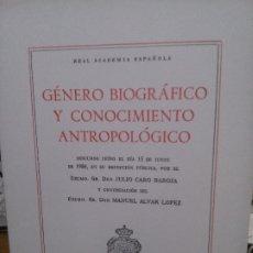 Libros: GÉNERO BIOGRÁFICO Y CONOCIMIENTO ANTROPOLÓGICO, REAL ACADEMIA ESPAÑOLA.. Lote 181603430
