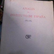 Libros: ANALES DEL INSTITUTO DE ESPAÑA 1951-1952, MADRID . IMPRE.GONGORA. Lote 95072027
