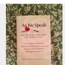 Libros: AS WE SPEAK. Lote 113280070