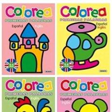 Libros: LOTE 4 CUADERNOS COLOREA PRIMERAS PALABRAS ESPAÑOL INGLES. Lote 119392088