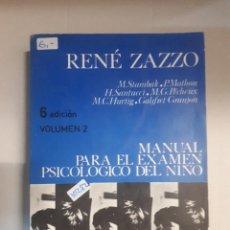 Libros: MANUAL PARA EL EXAMEN PSICOLOGICO DEL NIÑO . Lote 150930458
