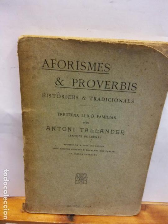 STQ.ANTONI TALLANDER.AFORISMES Y PROVERBIS.EDT, BARCELONA.BRUMART TU LIBRERIA (Libros Nuevos - Educación - Aprendizaje)