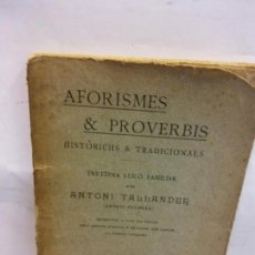 Libros: STQ.ANTONI TALLANDER.AFORISMES Y PROVERBIS.EDT, BARCELONA.BRUMART TU LIBRERIA. Lote 157723630