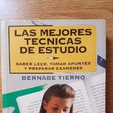 Libros: LIBRO LAS MEJORES TÉCNICAS DE ESTUDIO. BERNABE TIERNO. Lote 164161418