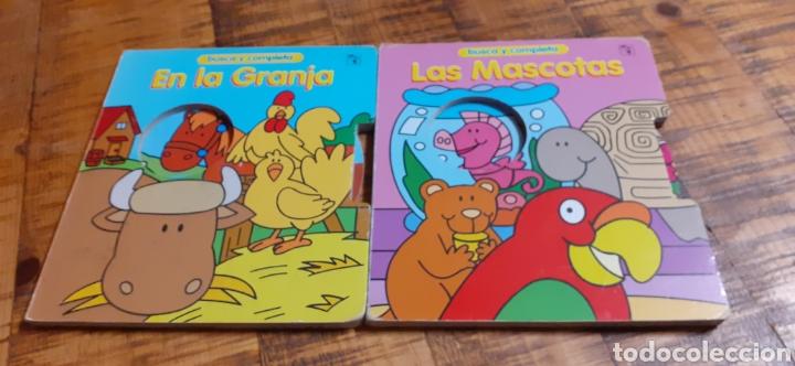 2 LIBROS -LAS MASCOTAS - EN LA GRANJA -BUSCA Y COMPLETA - EDICIÓNES SALDAÑA (Libros Nuevos - Educación - Aprendizaje)