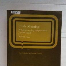 Libros: 31143 - INSIDE MEANING - TEACHERS BOOK - POR MICHAEL SWAN - AÑO 1978 - EN INGLES . Lote 191702885