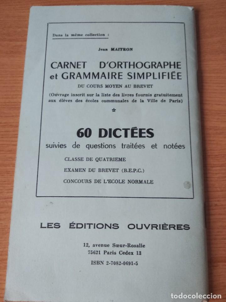 Libros: 60 dictees . Jean maitron.sixieme. frances. - Foto 2 - 218387140