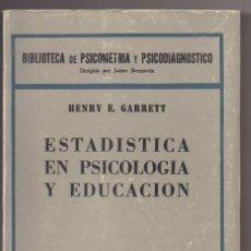 Livros: ESTADISTICAS EN PSICOLOGIA Y EDUCACION. Lote 221425507