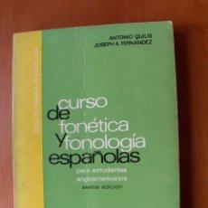 Libros: CURSO DE FONÉTICA Y FONOLOGÍA ESPAÑOLAS / A. QUILIS - JOSEPH A. FERNÁNDEZ. Lote 228156805