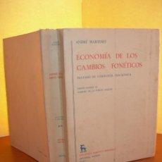 Libros: ECONOMÍA DE LOS CAMBIOS FONÉTICOS / ANDRÉ MARTINET. Lote 253905330