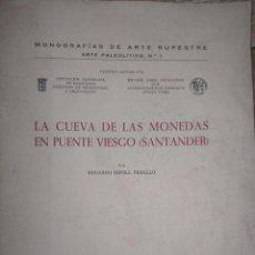 Libros: LA CUEVA DE LAS MONEDAS EN PUENTE VIESGO (SANTANDER).- RIPOLL PERELLO, E. - FIRMADO POR EL AUTOR. Lote 229257555