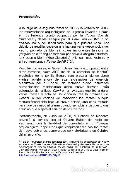Libros: Menorca Arqueológica I: Montefí (Ciutadella de Menorca). (Arqueología - Arte) (LAGARDA) - Foto 3 - 191867078