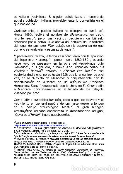 Libros: Menorca Arqueológica I: Montefí (Ciutadella de Menorca). (Arqueología - Arte) (LAGARDA) - Foto 6 - 191867078