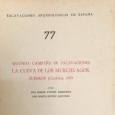 Livros: LA CUEVA DE LOS MURCIÉLAGOS, ZUHEROS -CORDOBA 1969. 77. A. M. VICENT. E.A.E. 1872.. Lote 259972435
