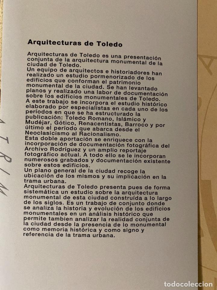 Libros: ARQUITECTURAS DE TOLEDO. JUNTA DE LA COMUNIDAD DE CASTILLA LA MANCHA. 1992. VOL I Y II. - Foto 5 - 204370243
