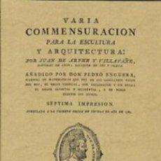 Libros: VARIA CONMESURACION PARA LA ESCULTURA Y ARQUITECTURA. Lote 271939888