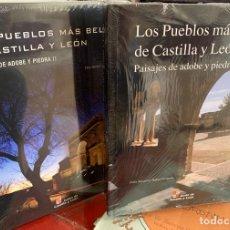 Libros: LOS PUEBLOS MÁS BELLOS DE CASTILLA Y LEÓN. PAISAJES DE ADOBE Y PIEDRA I Y II. Lote 287724013