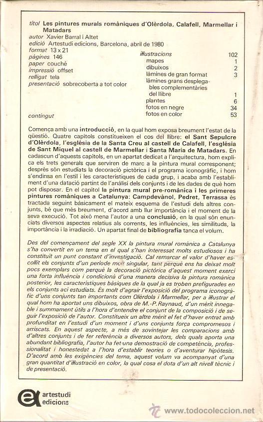 Libros: Les pintures murals romàniques d Olerdola, Calafell, Marmellar i Matadars. X.Barral. -Vell i Bell. - Foto 2 - 50512316