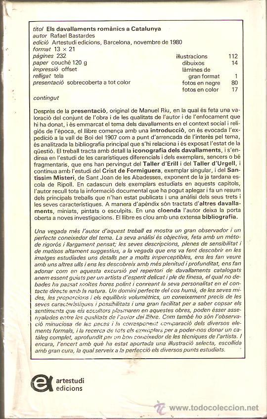 Libros: Els devallaments romanics a Catalunya. Rafael Bastardes. Artestudi. -Vell i Bell. - Foto 2 - 50512351