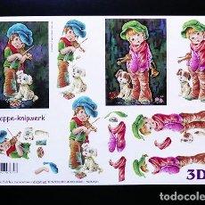 Libros: RR. LAMINA RECORTABLE PARA HACER MANUALIDADES EN 3D. DECOUPAGE. NIÑOS 8. TAM. A4.. Lote 76540607