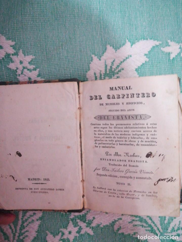 Libros: Manual del carpintero y ebanista de muebles y edificios, 1845 - Foto 3 - 134004294