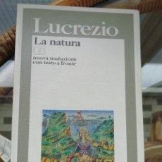 Libros: LUCRECIO LA NATURA EN ITALIANO. Lote 223356633