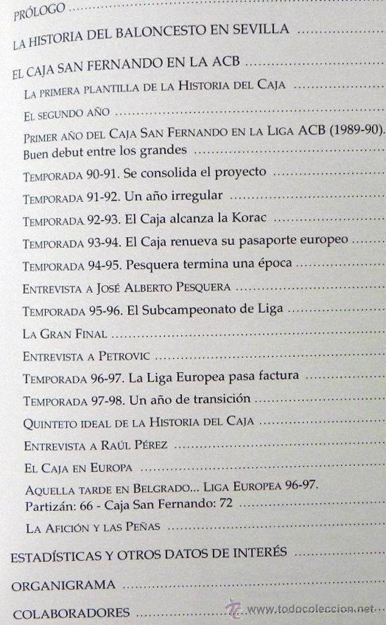 Coleccionismo deportivo: DIEZ AÑOS DEL CAJA SAN FERNANDO EN LA ACB - LIBRO BALONCESTO DEPORTE CLUB DE SEVILLA FOTOS HISTORIA - Foto 2 - 48799984