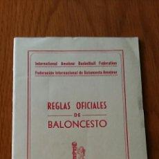 Coleccionismo deportivo: REGLAS OFICIALES DE BALONCESTO. FEDERACION ESPAÑOLA BALONCESTO. 1957. Lote 62592528