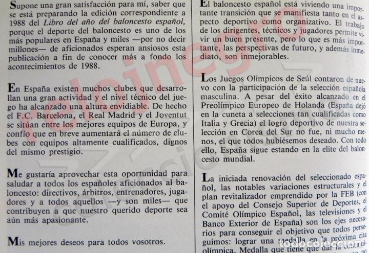 Coleccionismo deportivo: BALONCESTO ESPAÑOL LIBRO DEL AÑO 88 - FEDERACIÓN ESPAÑOLA DE - 1988 DEPORTE ESPAÑA JJOO SEUL BÁSQUET - Foto 3 - 74665551