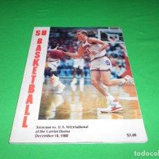 Coleccionismo deportivo: SU BASKETBALL - SYRACUSE VS. U.S. INTERNATIONAL AT THE CARRIER DOME - DECEMBER 14 - 1988 - EN INGLES. Lote 89489576