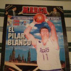 Coleccionismo deportivo: SUPLEMENTO BALONCESTO BASKET MARCA FINAL FOUR ZARAGOZA 1995, POSTER REAL MADRID CAMPEÓN. Lote 108099463